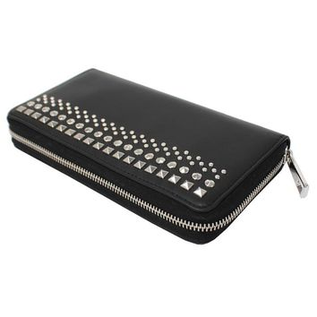 Gucci Men's Leather Black Studded Zip Around Wallet 387456