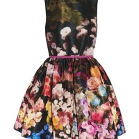 Retro Sleeveless Bubble Dress with Colorful Flowers Printed