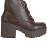 Platform Tie Up Bootie - Brown
