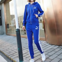 Puma Casual Simple Cool Stripe Fashion Long Sleeve  Pattern Letter Print  Two-Piece Suit Clothes