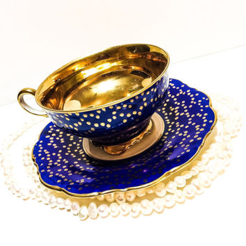 Antique Demitasse Cup and Saucer, Bavarian, Blue, Gold,  Bone China Demitasse, 1910s,
