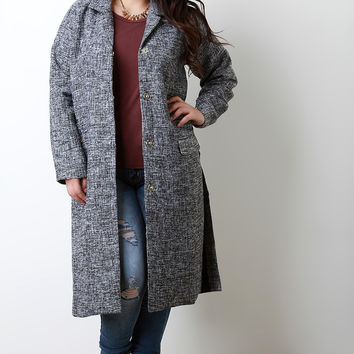 Contrast Wool Shimmer Snap Button Trench Coat