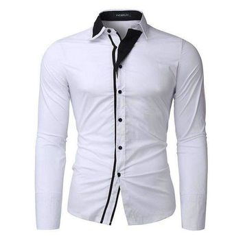 VONE05F8 men shirts casual long sleeve slim fit cotton top maleDress shirts formal business social plus size