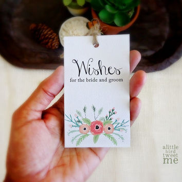 Wedding Wish Tree tags. Bride Groom Advice Cards. 24 Pastel Floral tags. Weddings, Personalized tags.