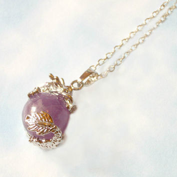 Natural Amethyst Crystal Orb Dragon Necklace