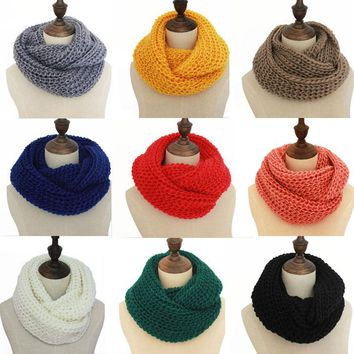 Winter Women Knitted Scarves Lic Female  Ring Collar Neck Scarf Warmer men woman's Crochet Ring Spain Loop Scarves for lady