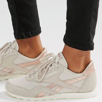 Reebok Classic Trainers In Nude With Rose Gold Trim