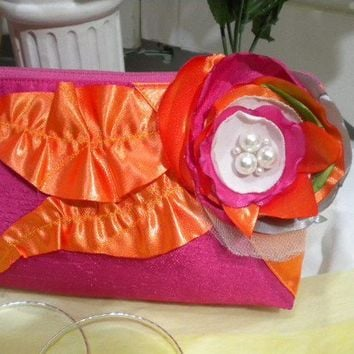 ELEGANT PINK AND ORANGE  BRIDAL SILK CLUTCH by maycascollection