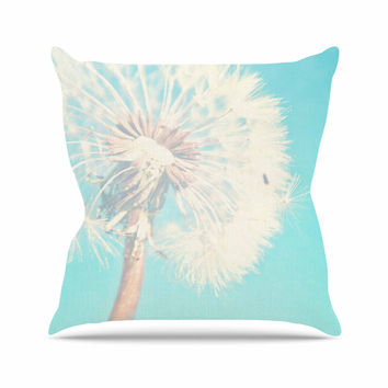 "Sylvia Coomes ""Aqua Dandelion"" Photography Floral Outdoor Throw Pillow"