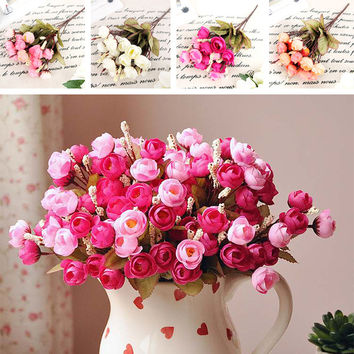 18 Flower Heads Peony Bouquet Hydrangea Decor Wedding Decoration Mariage cheap Artificial Red Rose Silk Flowers