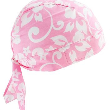 Hawaiian Tropical Pink & White Flower Skull Cap Hat