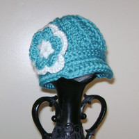 Baby girl hat - Newsboy hat - crochet News boy cap with brim and flower