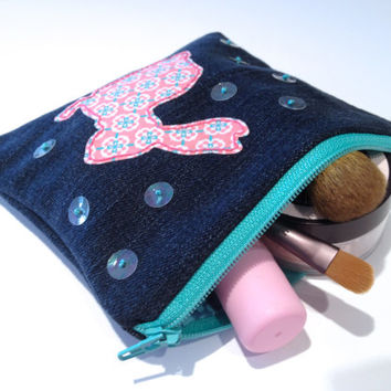 Zippered Bunny Denim Coin Purse - Handmade