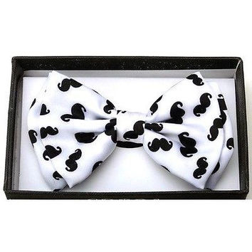 WHITE WITH BLACK  MUSTACHES ADJUSTABLE  BOW TIE-NEW GIFT BOX!