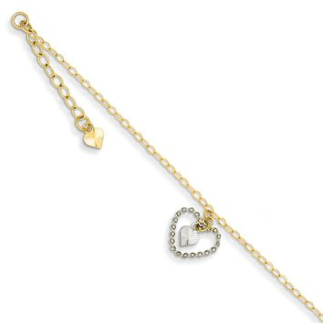 14kt Yellow Gold Two Tone Textured Hollow Heart Charm Ankle Bracelet