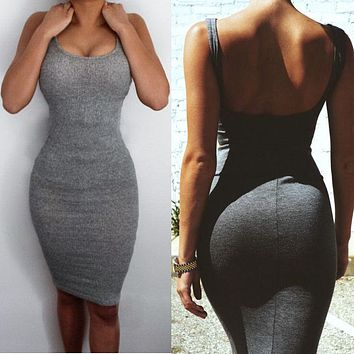 Dresses Gray Sexy Women Clothes Spring Summer Sheath Bandage Slim Sleeveless Bodycon Split Mini Dress
