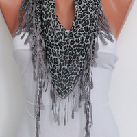 Gray Leopard  Shawl- Scarf- lace edge