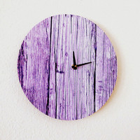 Unique Wall Clock, Decor and Housewares, Home and Living, Wall Clock, Shabby Chic, Purple Wood, Eco Friendly Decor, Unique Gift