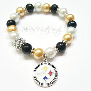 Pittsburgh Steelers Bracelet, Beaded Bracelet, NFL, Football Bracelet, Charm Bracelet, Stretchy, Handmade Custom Beaded Jewelry