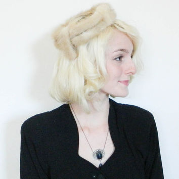 50s 60s vintage fur crown / tan mink fascinator / winter hat / 1960s mod hat