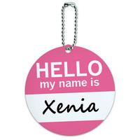 Xenia Hello My Name Is Round ID Card Luggage Tag