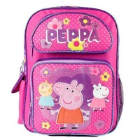 "Peppa Pig 16"" Canvas Pink & Purple School Backpack"