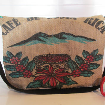 Coffee Burlap Messenger Bag Messenger Bag Coffee by TanteandOom