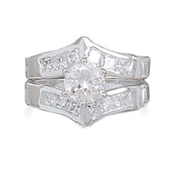 Bridal Rhodium Plated Two Piece CZ Ring Set