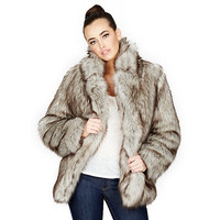 SILVER FAUX FOX JACKET: Betsey Johnson