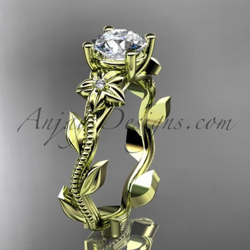 Unique 14kt yellow gold diamond flower, leaf and vine wedding ring, engagement ring ADLR238