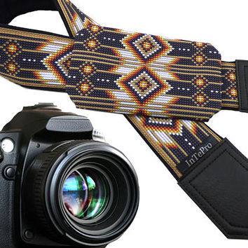 Camera accessories. Native American Inspired camera strap with pocket. Brown camera strap for DSLR and SLR cameras. Unisex. Great gift!