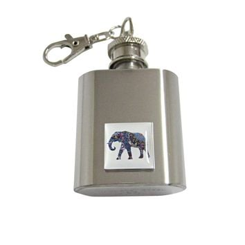 Colorful Elephant Pendant 1 Oz. Stainless Steel Key Chain Flask