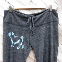 cute as a button Pug Pants Yoga Pants Lounge by nicandthenewfie