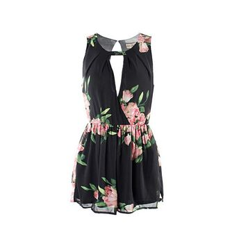 Women Summer Playsuits Open Back Chiffon Floral Romper Jumpsuit Cute Female Overalls Clothes