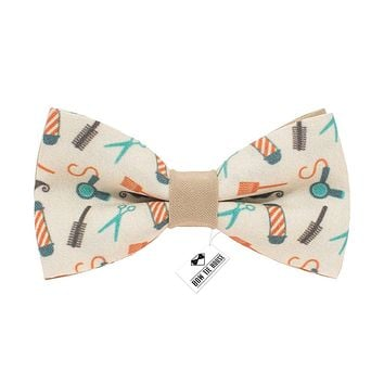 Barber Shop Beige Bow Tie