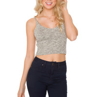 Zoe Knit Crop Top - Grey