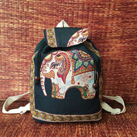 Black Backpack Elephant Tribal Boho Styles fabric Art Canvas Bohemian design Overnight travel bag Festival School bag Hippies gift for her