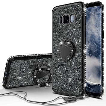 Samsung Galaxy S8 Plus Case, SM-G955 Case, Glitter Cute Phone Case Girls with Kickstand,Bling Diamond Rhinestone Bumper Ring Stand Sparkly Luxury Clear Thin Soft Protective Samsung Galaxy S8 Plus Case for Girl Women - Black