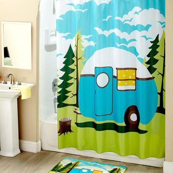 Retro RV Camper Camping Themed Bathroom Accessories Blue Green & White