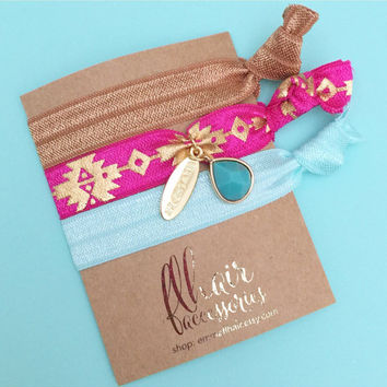Embellished Charm and Tassel Hair Tie Bracelet Set in Neutral, Pink Aztec, Mint with Gold on Gold Foil Cardstock