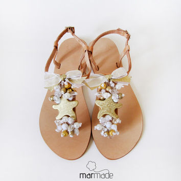 Bridal shoes - Handmade Leather Sandals with Gold Starfish, cream, clear and gold beads