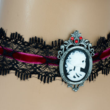 Black Lace Red Velvet Choker Skeleton Dead Girl Pendant Gothic Jewelry