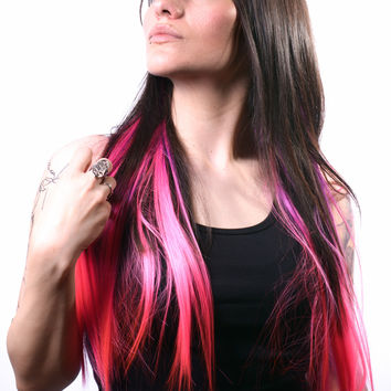 Purple/ Hot Pink Ombré dip dye clip-in hair extension