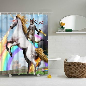 LFH Personalized Funny Cat Riding Unicorn Waterproof Shower Curtain & Shower Rings
