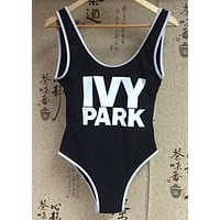 2016 Sexy Swimsuit Beyonce IVY PARK Letter Printed One Piece Swimwear Summer Women Jumpsuit Bodysuit Bathing Suit Rompers