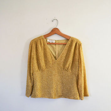 Vintage 80s Beaded Top Gold Sequin Beaded Cocktail Blouse Gold Beaded V Neck Shirt Evening Wear Size Large New Years Holiday Party