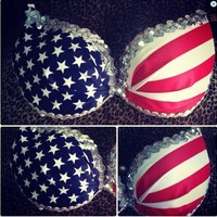 Vanityloveculture  — American Flag Sequins Bra Top
