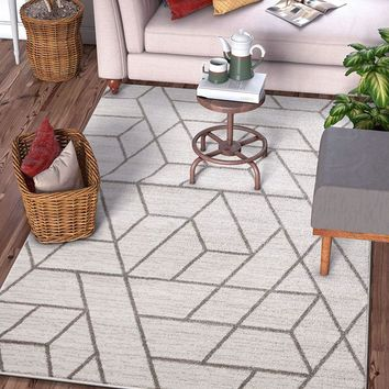 7036 Ivory  Geometric Modern Contemporary Area Rugs
