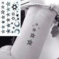 Waterproof Temporary Tattoo Sticker on body art star moon tattoo finger Water Transfer flash tattoo fake tattoo for girl women