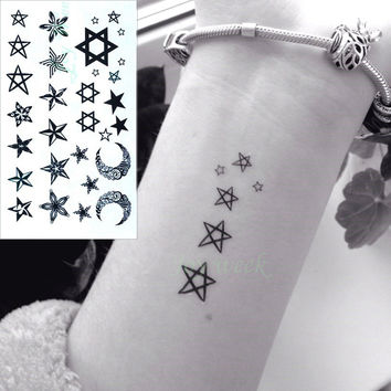 Waterproof Temporary Tattoo Sticker little star moon finger wrist ear bird tatto stickers flash tatoo fake tattoos for women 4